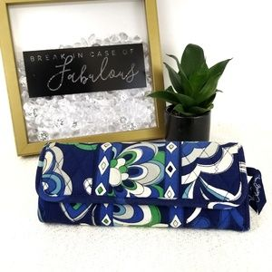 Vera Bradley blue and green trifold wallet
